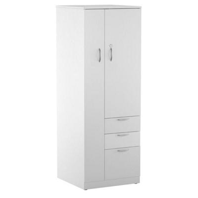 Three-Drawer Storage Tower Cabinet with Left Hand Wardrobe