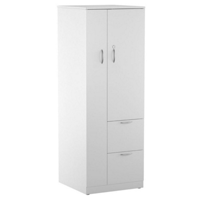 Two-Drawer Storage Tower Cabinet with Right Hand Wardrobe