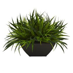 "Faux Potted Grass - 11""H"