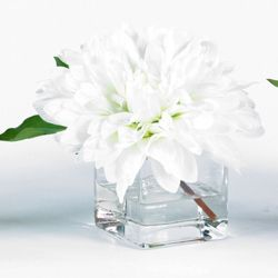 "Artificial Dahlia in Glass Container - 8""H"