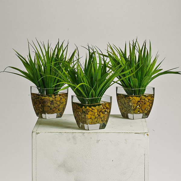 grass plants in glass pots with faux water - 87383-1 and more Artificial Greenery in Pots