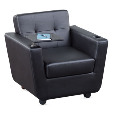 New York Faux Leather Club Chair with Tablet Arm