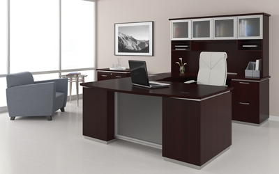 U-Shape Desk Set with Hutch, Right Return