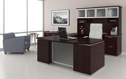 U-Shape Desk Set with Hutch, Right Return