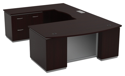 "Three File Pedestal U-Shape Desk with Left Bridge - 72""W x 114""D"