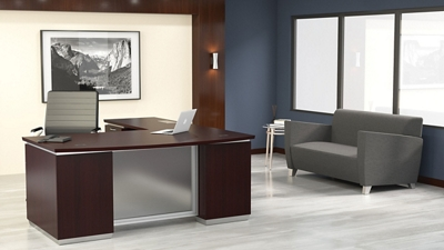 "Bow Front L-Shape Desk with Left Return - 72""W x 90""D"