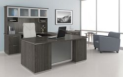U-Shape Desk Set with Hutch, Left Return