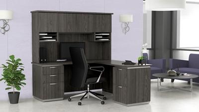 """L-Shape Desk with Hutch, Right Return - 72""""W x 72""""D"""