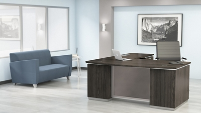 "Bow Front L-Shape Desk with Right Return - 72""W x 90""D"