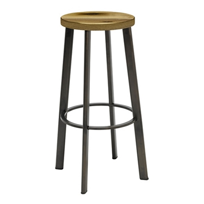 Metro Bar Height Stool with Wood Seat