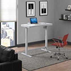 "Adjustable Desk with Glass Top - 47""W x 25""D"