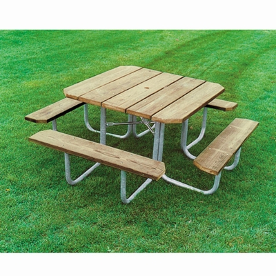 Square Pressure Treated Wood Picnic Table