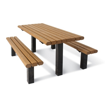 Surface Mounted Pedestal Table and Bench - 8 ft