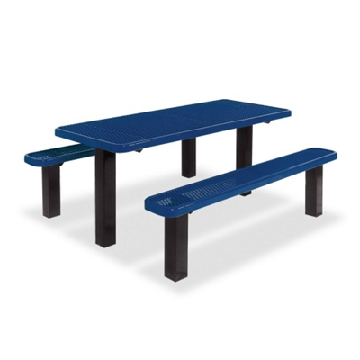 In-Ground Thermoplastic Pedestal Table and Benches - 6 ft