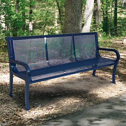 Plastic Coated Outdoor Perforated Bench with Back - 4'W