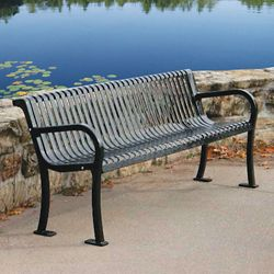 Plastic Coated Outdoor Bench with Slat Back - 4'W