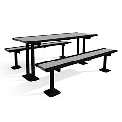 In-Ground Mounted Recycled Lumber Table and Benches - 6ft