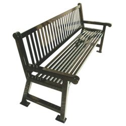 6' Plastic Coated Outdoor Bench with Slat Back