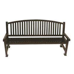 6' Plastic Coated Outdoor Bench with Bow Back