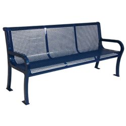 6' Plastic Coated Outdoor Perforated Bench with Back