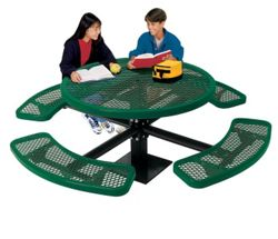 Round Perforated Picnic Table with Surface Mount