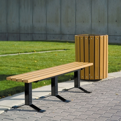 Recycled Plastic Lumber In-Ground Mount Backless Park Bench - 6 ft