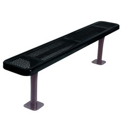 Backless Surface Mount Perforated Steel Bench - 6'W