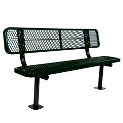 Surface Mount Diamond Pattern Steel Bench - 6'W
