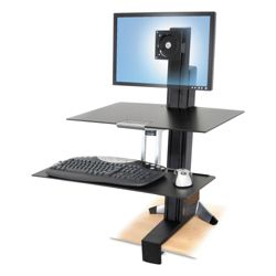 Adjustable Height Single Monitor Desktop Mount