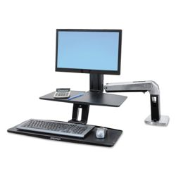 Light Duty Adjustable Height Single Monitor Desktop Arm with Worksurface