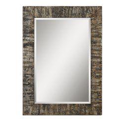 "44.75""H x 32.75""W Rectangular Bark Frame Mirror"