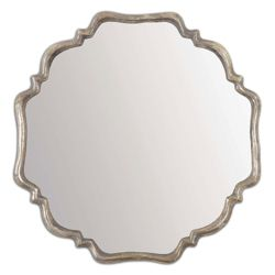 "33""H x 33""W Curved Metal Frame Mirror"