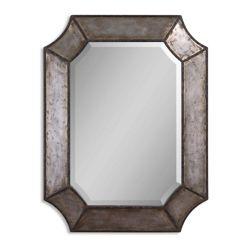 "31.75""H x 24""W Hammered Aluminum Frame Mirror"