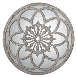 """39.75""""DIA Circular Mirror with Decorative Metal Overlay"""