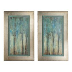 "21""W x 35""H (Each) Set of Two Whispering Wind Framed Art"