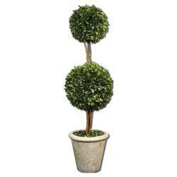 "Preserved Boxwood Double Sphere Topiary - 36""H"
