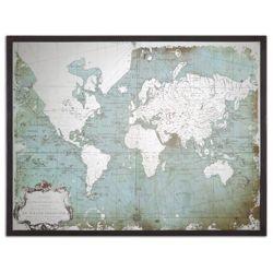 "Mirrored World Map 44""W x 33""H"