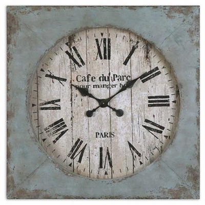 "Aged Blue Square 29"" Wall Clock"