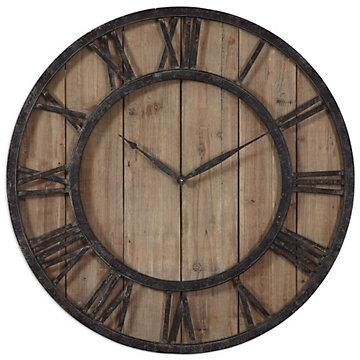 "Wood and Metal 30""Dia Wall Clock"