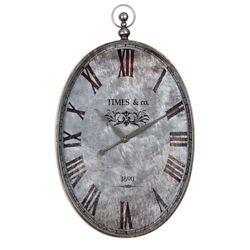 "Oval Pocket Watch 21""W Hanging Clock"