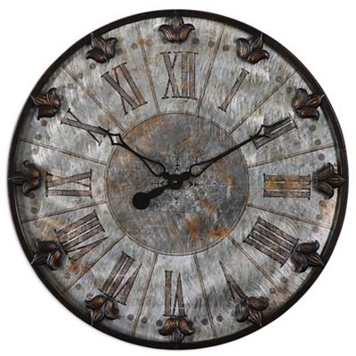 """Antique Aluminum 24""""Dia Hanging Clock"""