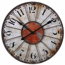 "Bronze and Rust Red 29""Dia Mountable Clock"