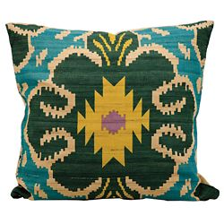 "kathy ireland by Nourison Ikat Clover Pattern Accent Pillow - 18""W x 18""H"