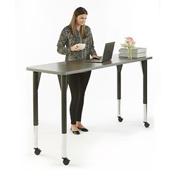 "Agile Mobile Adjustable Height Table - 72""W x 24""D"