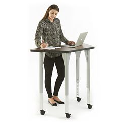 "Agile Mobile Trapezoid Adjustable Height Table - 48""W x 24""D"