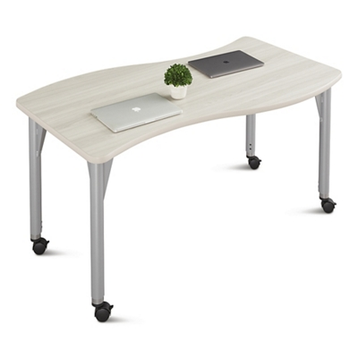 """Agile Mobile Curve Adjustable Height Table - 60""""W x 30""""D"""