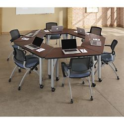 Agile Trapezoid Mobile Adjustable Height Table Set