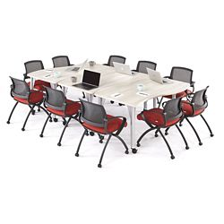 Agile Small Curve Mobile Adjustable Height Table Set