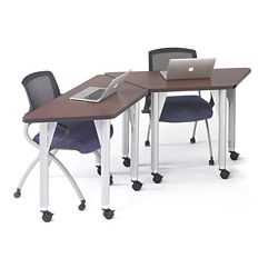 Agile Set of Two Trapezoid Mobile Adjustable Height Tables