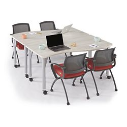 Agile Set of Two Curve Mobile Adjustable Height Tables